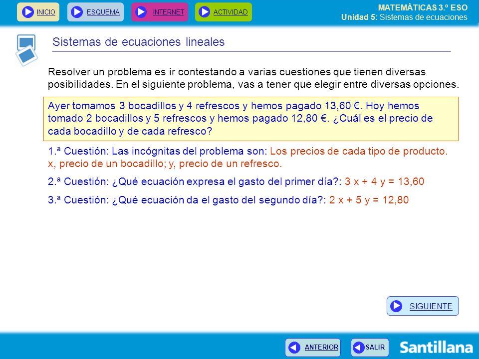 MATEMÁTICAS 3.º ESO Unidad 5: Sistemas de ecuaciones INICIOESQUEMA INTERNETACTIVIDAD Resolver un problema es ir contestando a varias cuestiones que ti