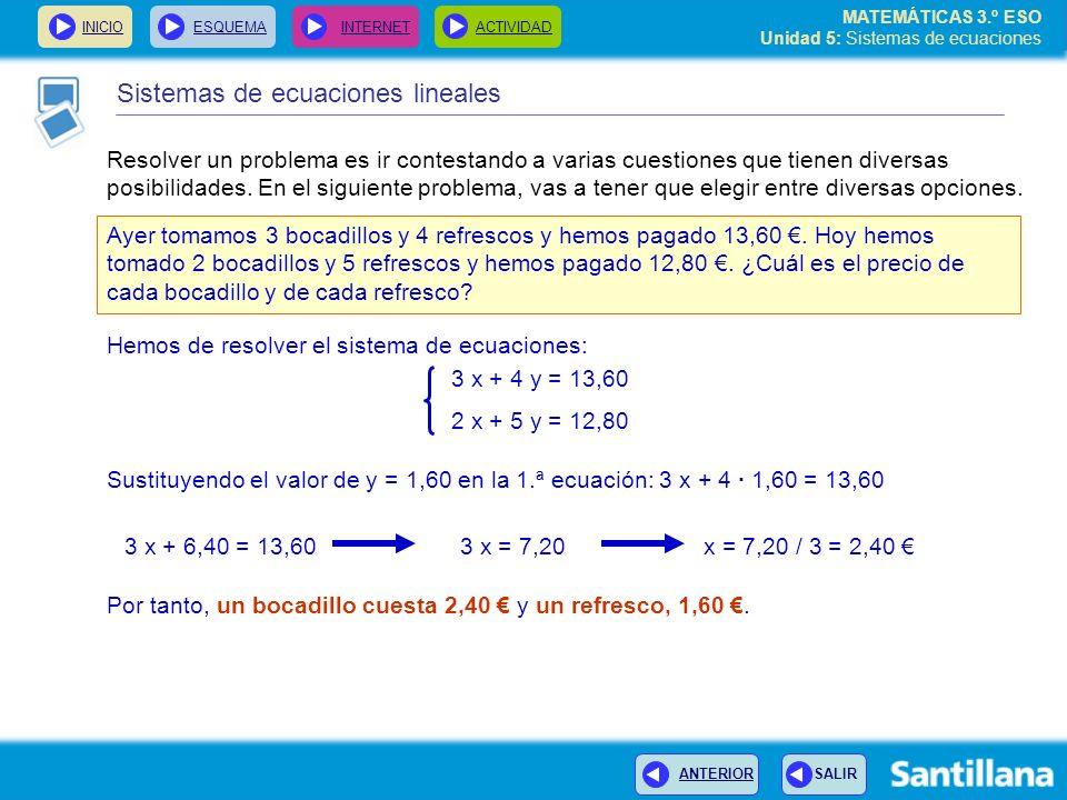 MATEMÁTICAS 3.º ESO Unidad 5: Sistemas de ecuaciones INICIOESQUEMA INTERNETACTIVIDAD Sistemas de ecuaciones lineales Resolver un problema es ir contes