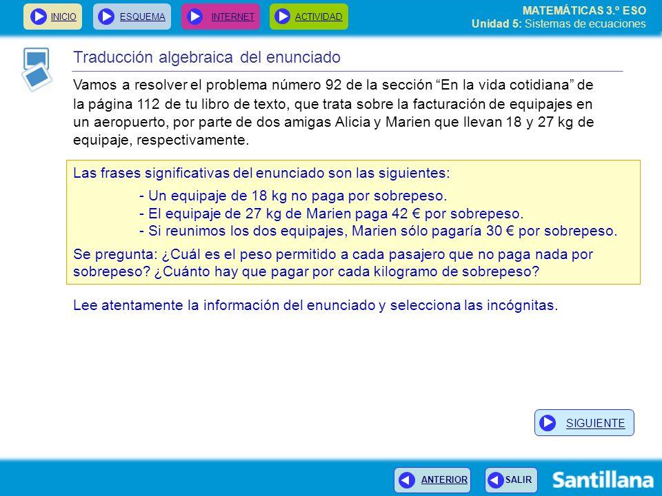 MATEMÁTICAS 3.º ESO Unidad 5: Sistemas de ecuaciones INICIOESQUEMA INTERNETACTIVIDAD Traducción algebraica del enunciado Vamos a resolver el problema