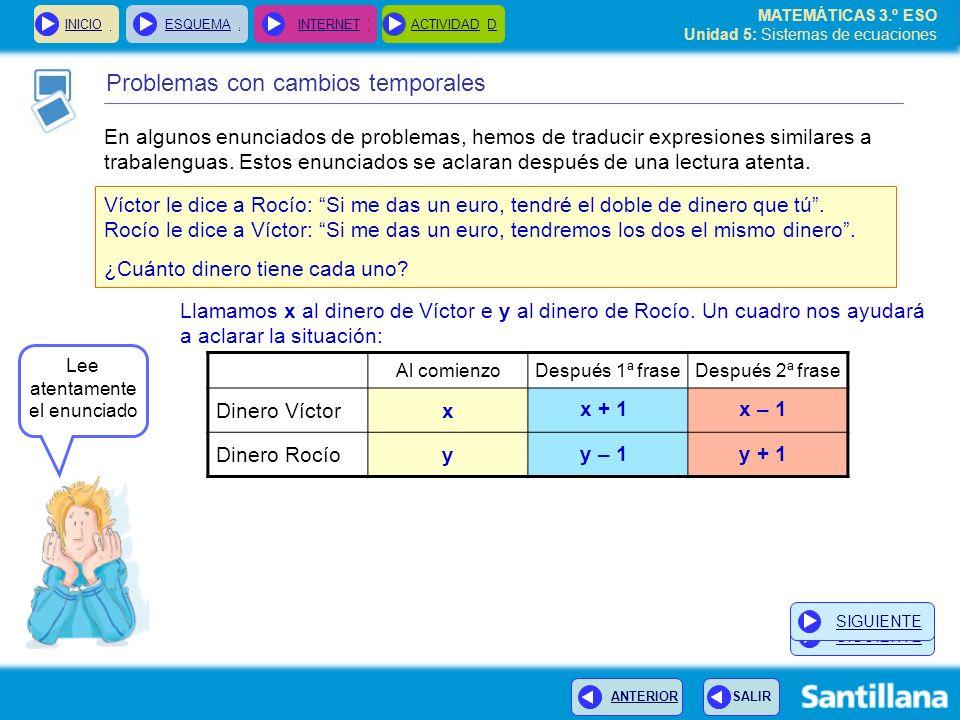 MATEMÁTICAS 3.º ESO Unidad 5: Sistemas de ecuaciones INICIOESQUEMA INTERNETACTIVIDAD Problemas con cambios temporales INICIOESQUEMA INTERNETACTIVIDAD