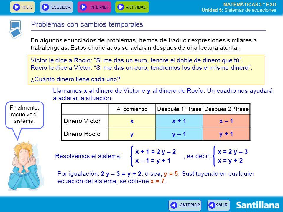 MATEMÁTICAS 3.º ESO Unidad 5: Sistemas de ecuaciones INICIOESQUEMA INTERNETACTIVIDAD Problemas con cambios temporales En algunos enunciados de problem