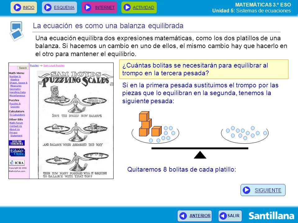 MATEMÁTICAS 3.º ESO Unidad 5: Sistemas de ecuaciones INICIOESQUEMA INTERNETACTIVIDAD La ecuación es como una balanza equilibrada ¿Cuántas bolitas se n