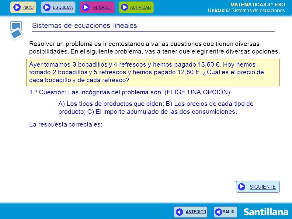 MATEMÁTICAS 3.º ESO Unidad 5: Sistemas de ecuaciones INICIOESQUEMA INTERNETACTIVIDAD La ecuación es como una balanza equilibrada INICIOESQUEMA INTERNETACTIVIDAD equivale a 3x + y = 12 equivale a 4x + 8 = 12 equivale a y = x + 8 4x = 4 Sustituimos el valor de y en la 1ª ecuación Simplificamos Vamos a ver como, al resolver el problema de la balanza, has resuelto un sistema de dos ecuaciones con dos incógnitas.