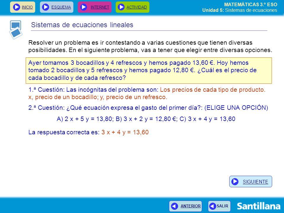 MATEMÁTICAS 3.º ESO Unidad 5: Sistemas de ecuaciones INICIOESQUEMA INTERNETACTIVIDAD Resolver un problema es ir contestando a varias cuestiones que tienen diversas posibilidades.