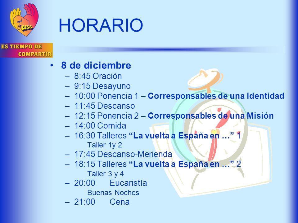 HORARIO 8 de diciembre –8:45 Oración –9:15 Desayuno –10:00 Ponencia 1 – Corresponsables de una Identidad –11:45 Descanso –12:15 Ponencia 2 – Correspon
