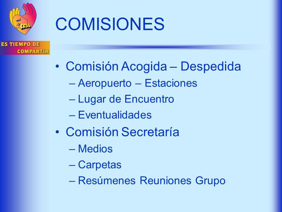 Comisión Acogida – Despedida –Aeropuerto – Estaciones –Lugar de Encuentro –Eventualidades Comisión Secretaría –Medios –Carpetas –Resúmenes Reuniones G