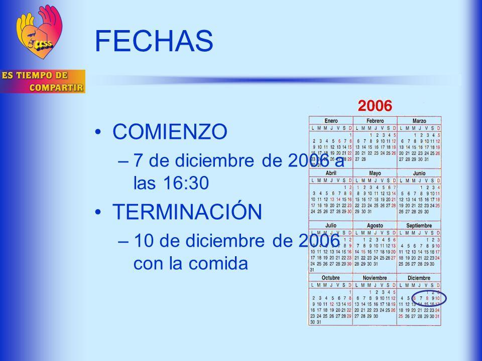 FECHAS COMIENZO –7 de diciembre de 2006 a las 16:30 TERMINACIÓN –10 de diciembre de 2006 con la comida