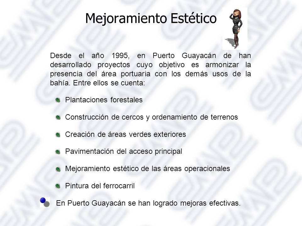 Mejoramiento Estético Desde el año 1995, en Puerto Guayacán de han desarrollado proyectos cuyo objetivo es armonizar la presencia del área portuaria con los demás usos de la bahía.