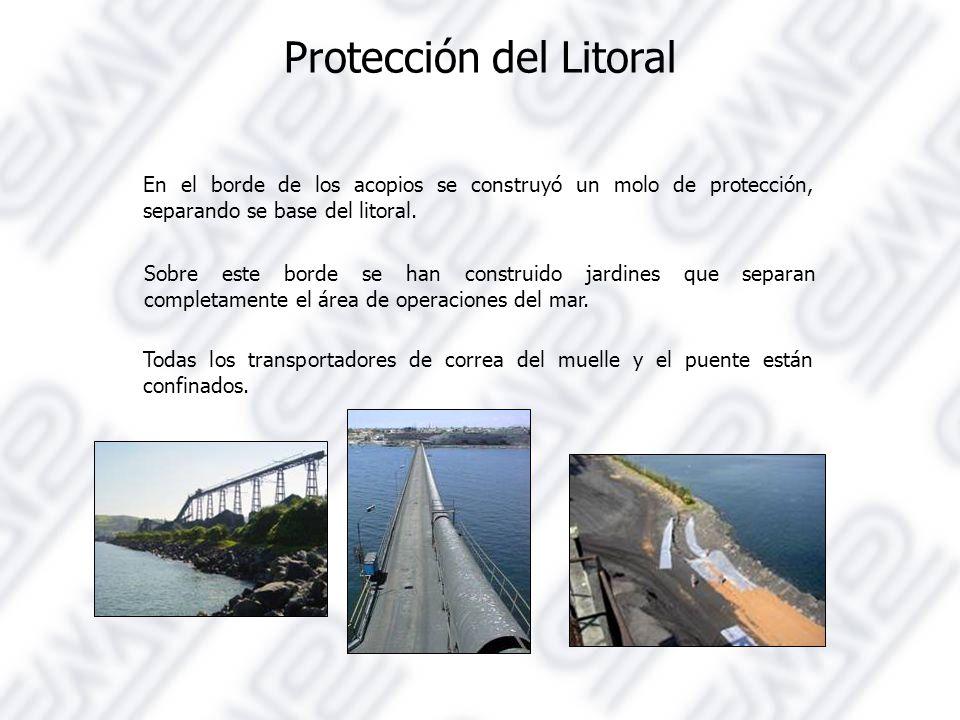 Protección del Litoral En el borde de los acopios se construyó un molo de protección, separando se base del litoral.