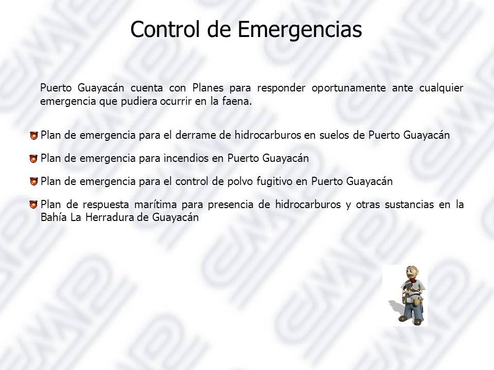 Control de Emergencias Puerto Guayacán cuenta con Planes para responder oportunamente ante cualquier emergencia que pudiera ocurrir en la faena.
