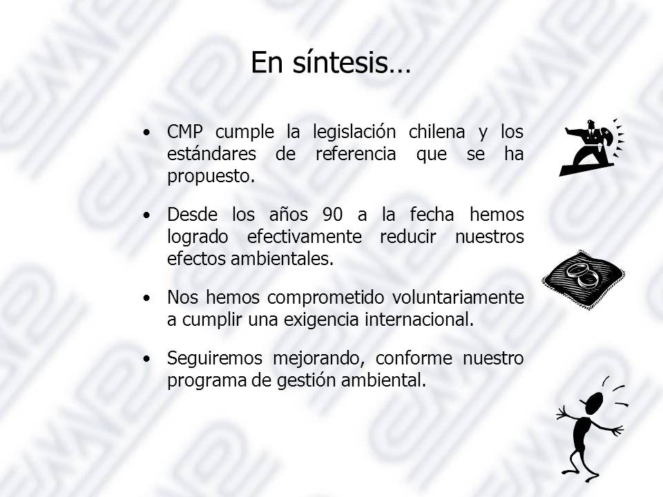 En síntesis… CMP cumple la legislación chilena y los estándares de referencia que se ha propuesto.