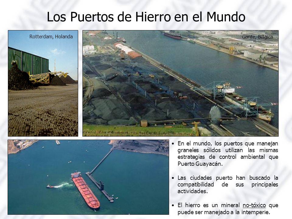 Los Puertos de Hierro en el Mundo Rotterdam, Holanda Gante, Bélgica En el mundo, los puertos que manejan graneles sólidos utilizan las mismas estrategias de control ambiental que Puerto Guayacán.