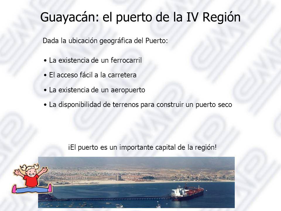 Guayacán: el puerto de la IV Región Dada la ubicación geográfica del Puerto: La existencia de un ferrocarril El acceso fácil a la carretera La existencia de un aeropuerto La disponibilidad de terrenos para construir un puerto seco ¡El puerto es un importante capital de la región!