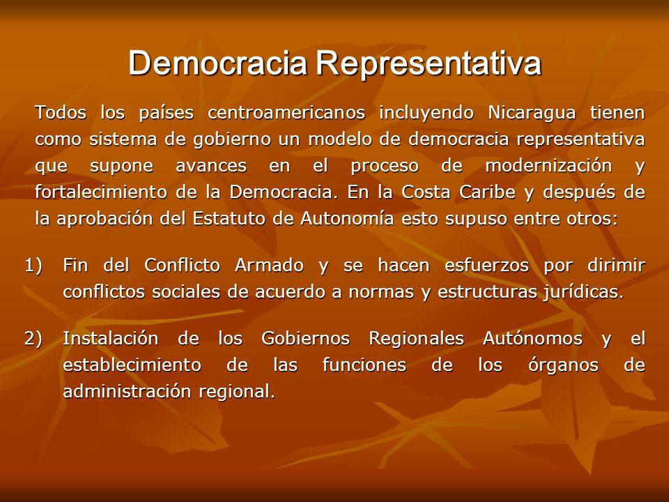 Democracia Representativa Todos los países centroamericanos incluyendo Nicaragua tienen como sistema de gobierno un modelo de democracia representativ