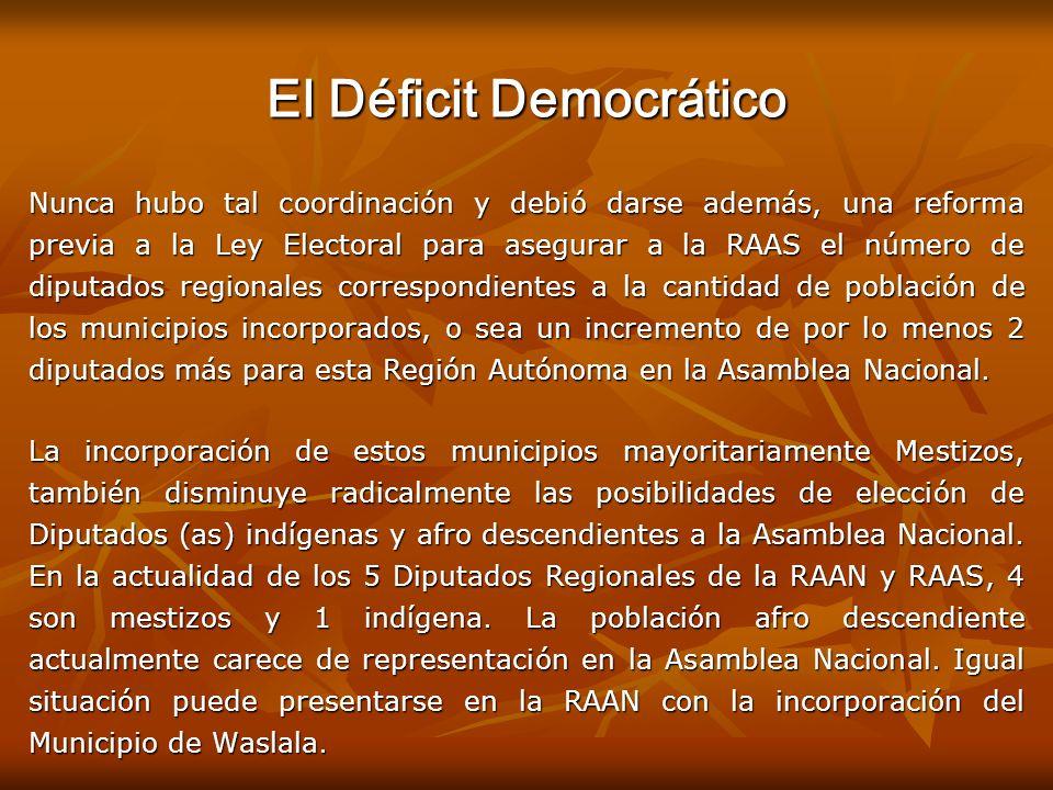 El Déficit Democrático Nunca hubo tal coordinación y debió darse además, una reforma previa a la Ley Electoral para asegurar a la RAAS el número de di