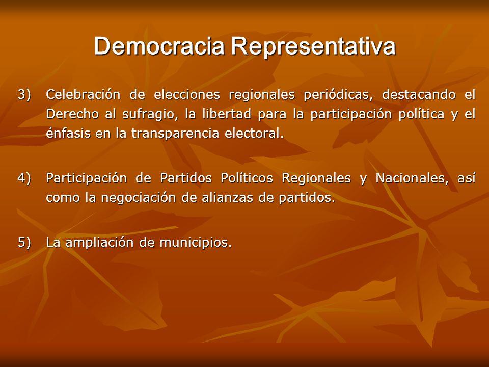 Democracia Representativa 3)Celebración de elecciones regionales periódicas, destacando el Derecho al sufragio, la libertad para la participación polí