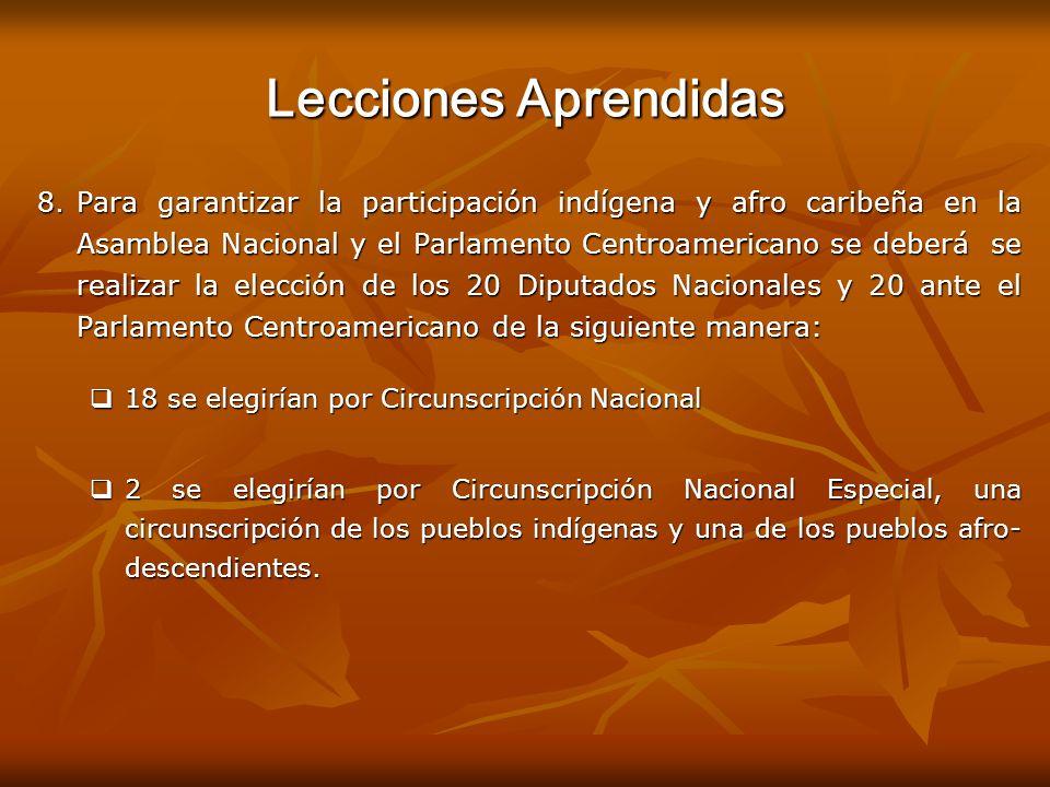 Lecciones Aprendidas 8.Para garantizar la participación indígena y afro caribeña en la Asamblea Nacional y el Parlamento Centroamericano se deberá se