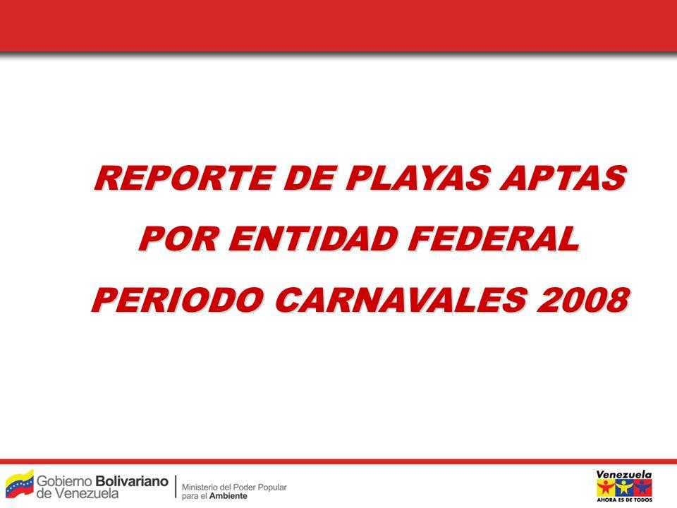 REPORTE DE PLAYAS APTAS REPORTE DE PLAYAS APTAS POR ENTIDAD FEDERAL POR ENTIDAD FEDERAL PERIODO CARNAVALES 2008 PERIODO CARNAVALES 2008