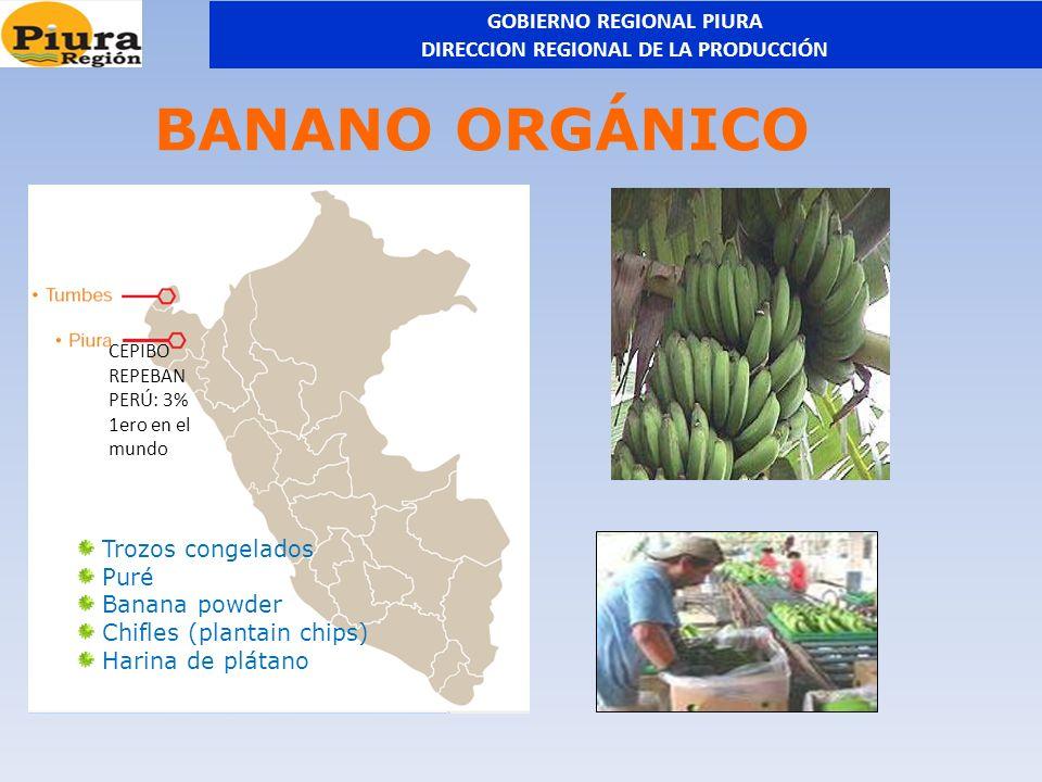 BANANO ORGÁNICO Trozos congelados Puré Banana powder Chifles (plantain chips) Harina de plátano CEPIBO REPEBAN PERÚ: 3% 1ero en el mundo GOBIERNO REGI