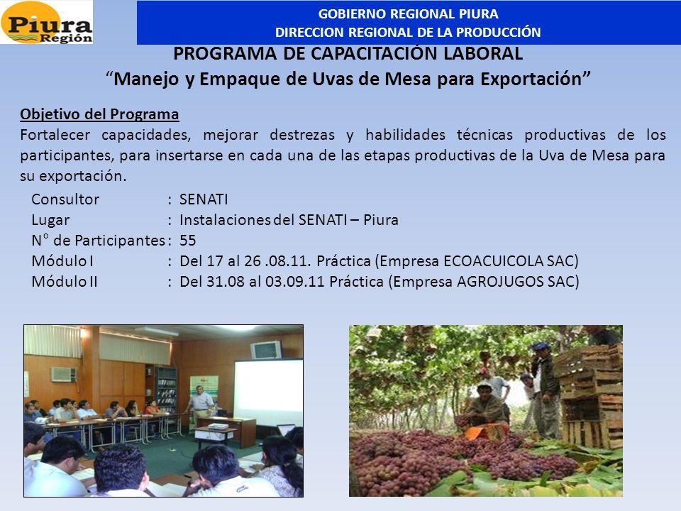 PROGRAMA DE CAPACITACIÓN LABORAL Manejo y Empaque de Uvas de Mesa para Exportación Consultor: SENATI Lugar: Instalaciones del SENATI – Piura N° de Par