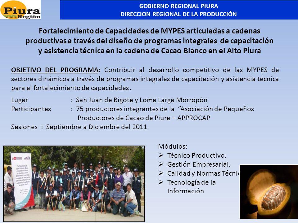 Lugar: San Juan de Bigote y Loma Larga Morropón Participantes: 75 productores integrantes de la Asociación de Pequeños Productores de Cacao de Piura –
