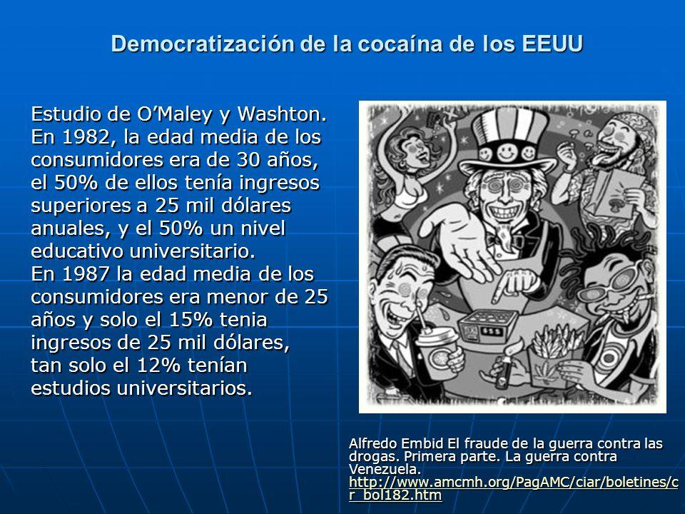 Democratización de la cocaína de los EEUU Democratización de la cocaína de los EEUU Estudio de OMaley y Washton. En 1982, la edad media de los consumi