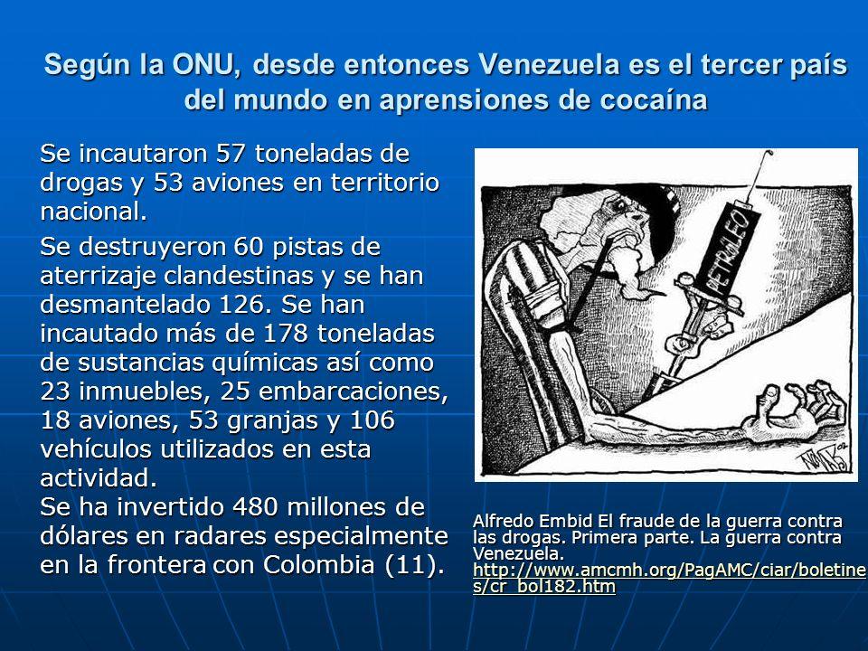 Según la ONU, desde entonces Venezuela es el tercer país del mundo en aprensiones de cocaína Se incautaron 57 toneladas de drogas y 53 aviones en terr