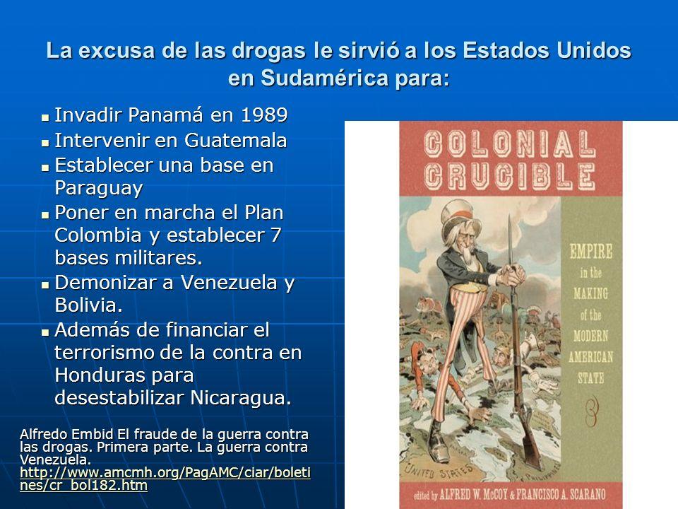 La excusa de las drogas le sirvió a los Estados Unidos en Sudamérica para: Invadir Panamá en 1989 Invadir Panamá en 1989 Intervenir en Guatemala Inter