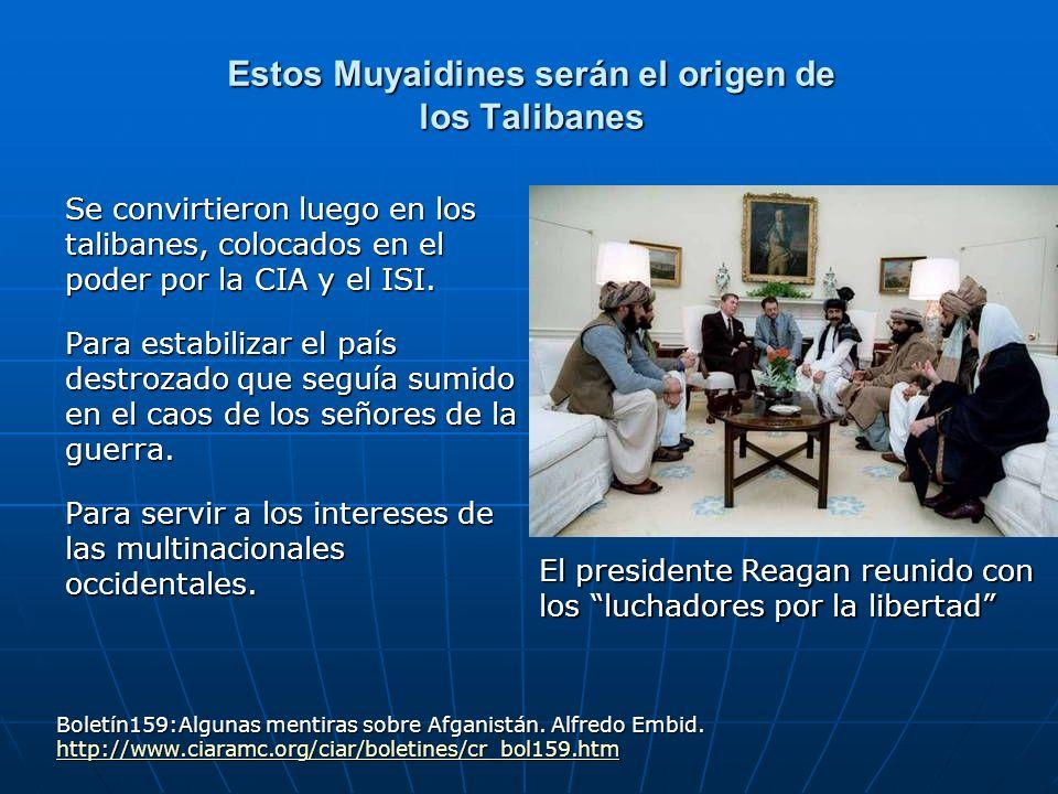 Estos Muyaidines serán el origen de los Talibanes Se convirtieron luego en los talibanes, colocados en el poder por la CIA y el ISI. Para estabilizar