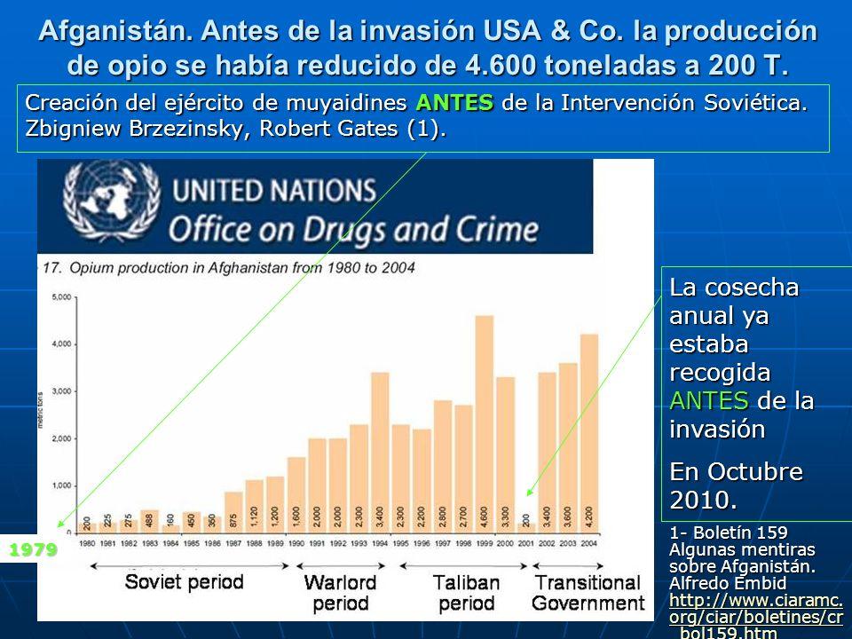 Afganistán. Antes de la invasión USA & Co. la producción de opio se había reducido de 4.600 toneladas a 200 T. Creación del ejército de muyaidines ANT