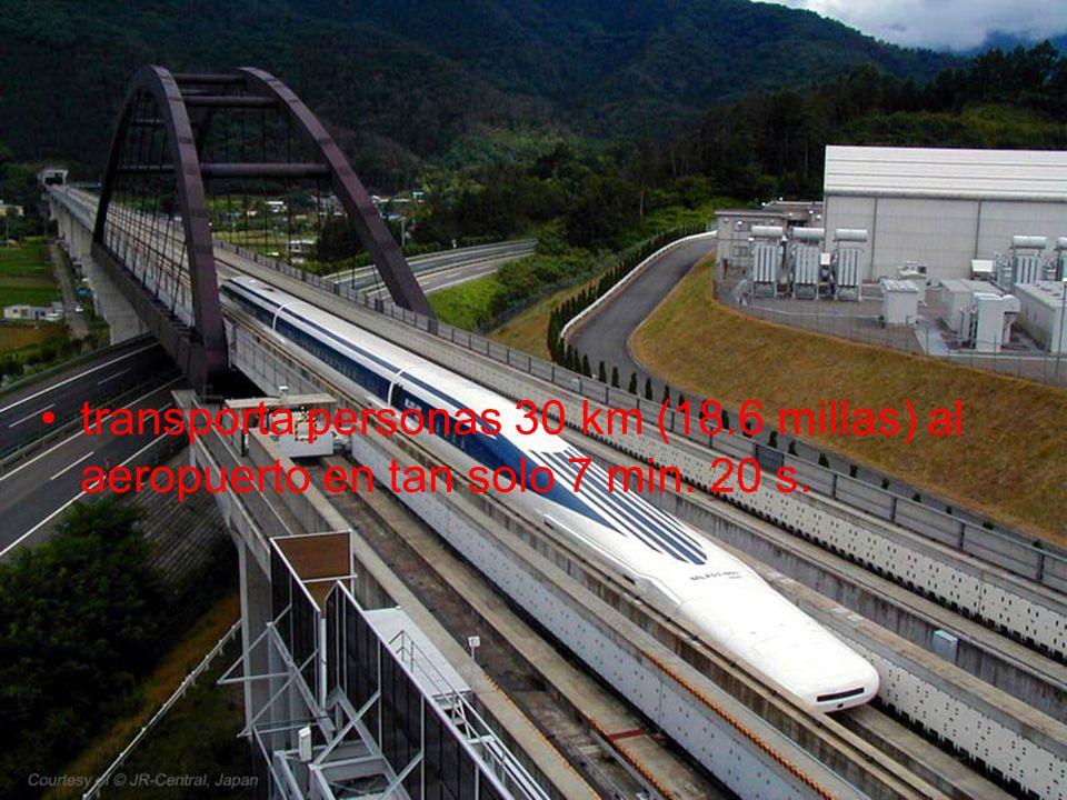 transporta personas 30 km (18.6 millas) al aeropuerto en tan solo 7 min. 20 s.