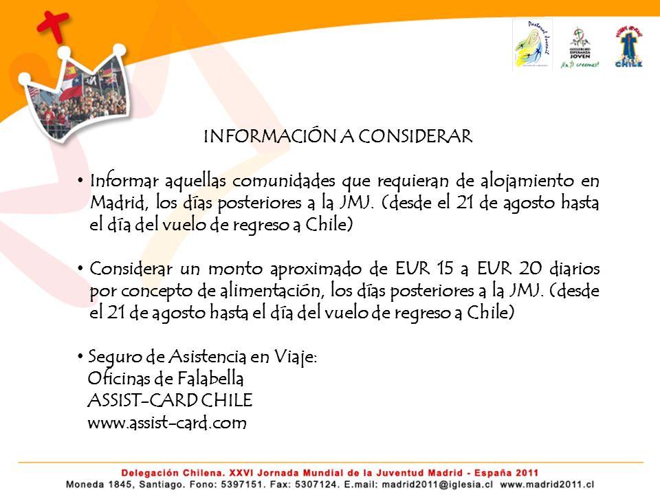 INFORMACIÓN A CONSIDERAR Informar aquellas comunidades que requieran de alojamiento en Madrid, los días posteriores a la JMJ. (desde el 21 de agosto h