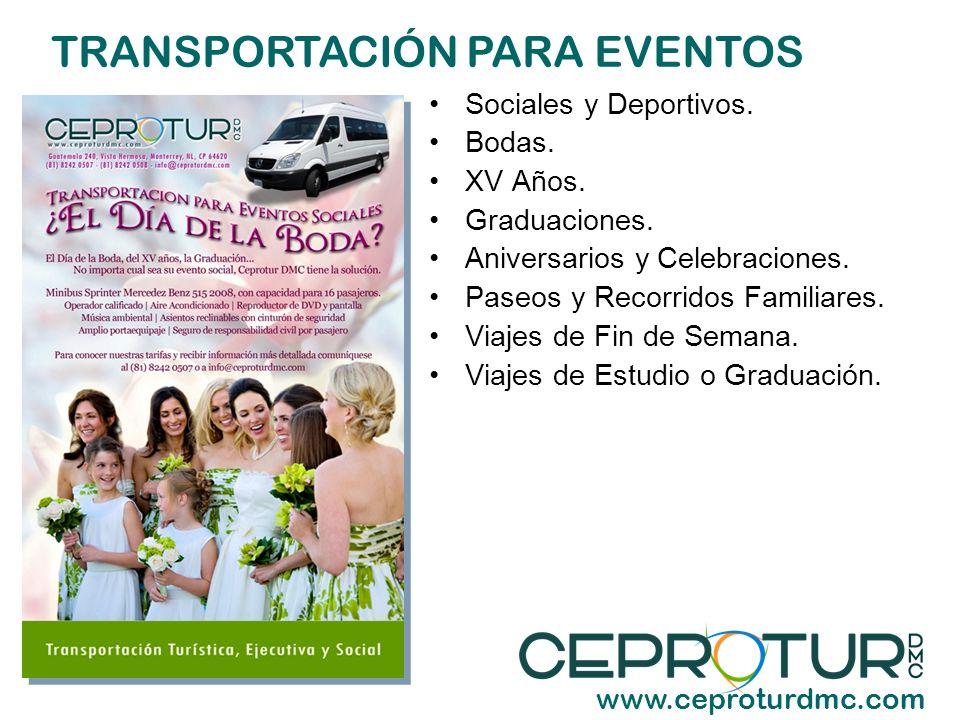 SERVICIOS TURÍSTICOS www.ceproturdmc.com Transportación Turística.