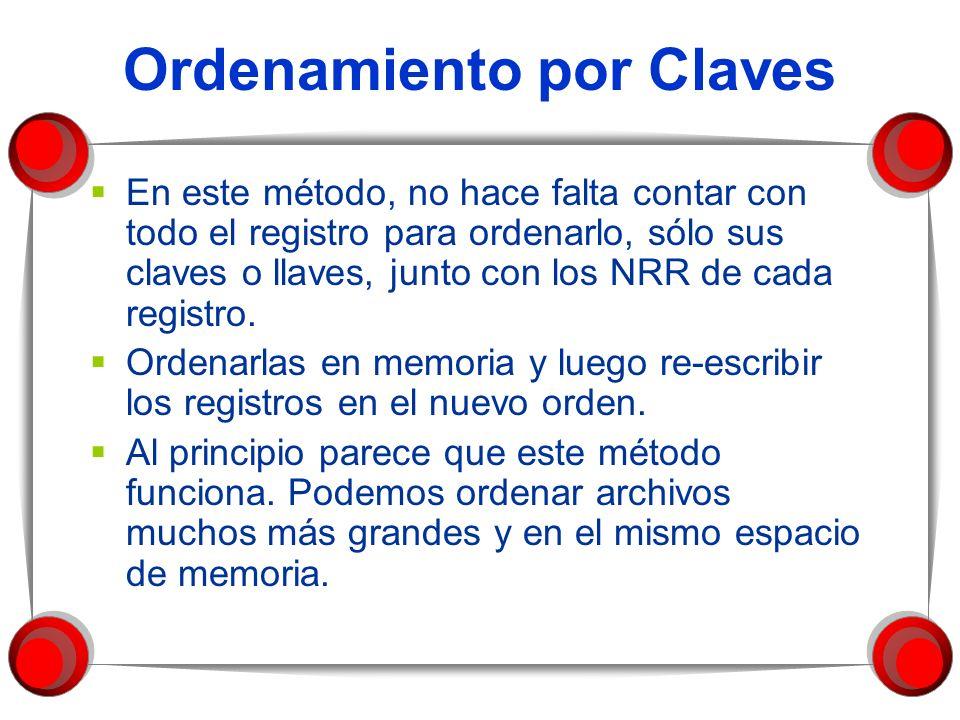 Ordenamiento por Claves En este método, no hace falta contar con todo el registro para ordenarlo, sólo sus claves o llaves, junto con los NRR de cada