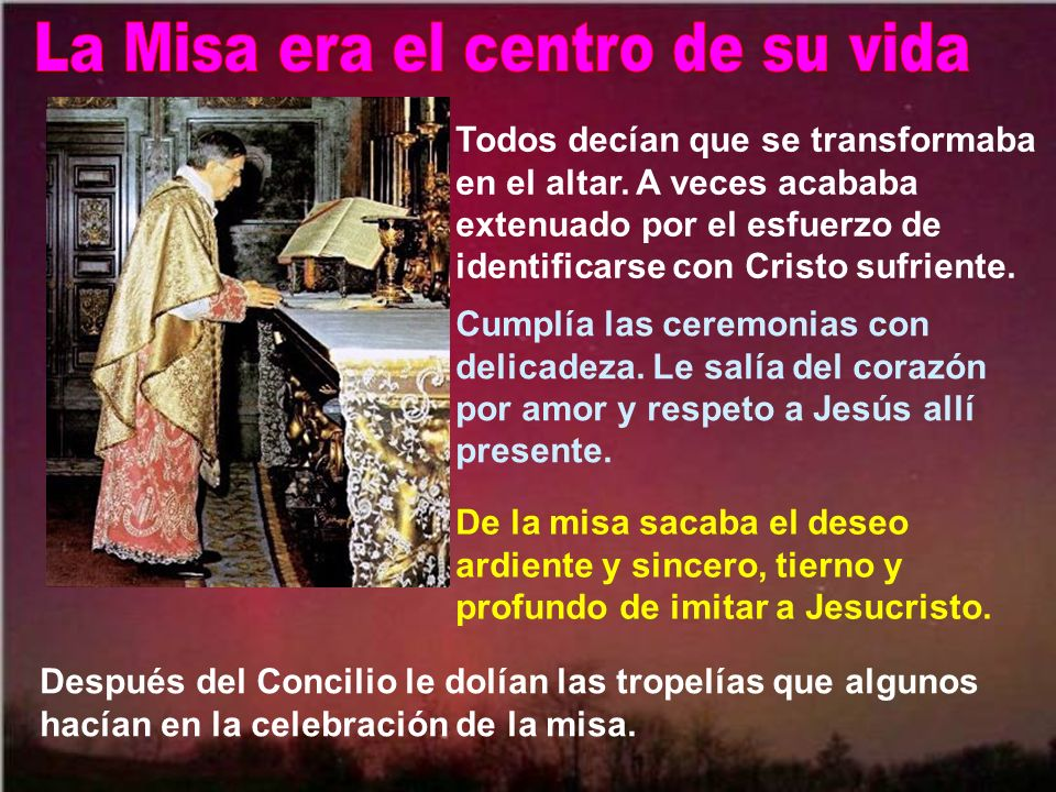 Y ante las delicadezas divinas, especialmente al celebrar la misa y en la acción de gracias. Le dolía la Iglesia: los que traicionaban su vocación, y