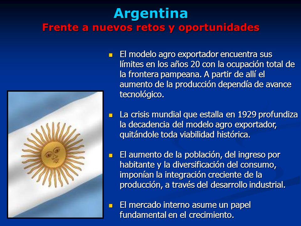 Argentina Frente a nuevos retos y oportunidades El modelo agro exportador encuentra sus límites en los años 20 con la ocupación total de la frontera pampeana.