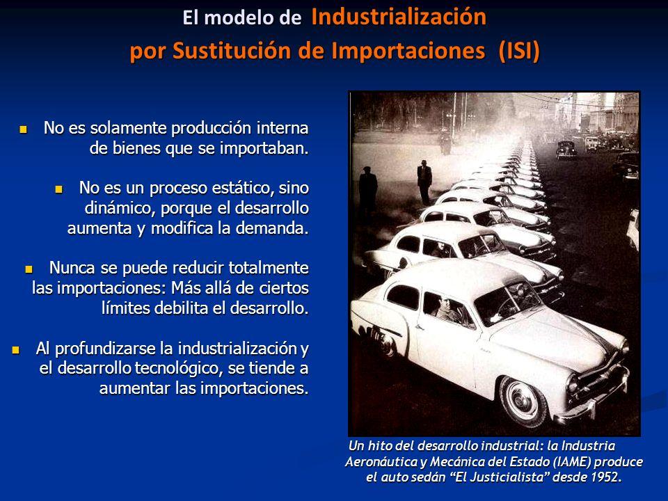 El modelo de Industrialización por Sustitución de Importaciones (ISI) No es solamente producción interna de bienes que se importaban.