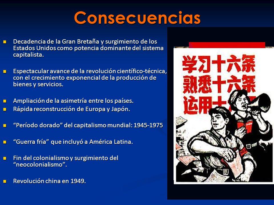 Consecuencias Decadencia de la Gran Bretaña y surgimiento de los Estados Unidos como potencia dominante del sistema capitalista.