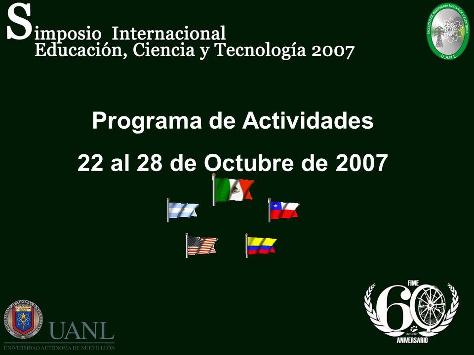 Programa de Actividades 22 al 28 de Octubre de 2007
