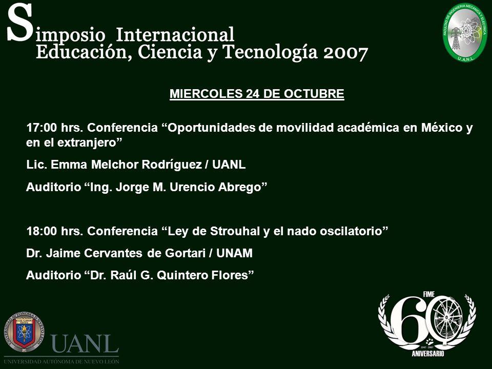 MIERCOLES 24 DE OCTUBRE 17:00 hrs. Conferencia Oportunidades de movilidad académica en México y en el extranjero Lic. Emma Melchor Rodríguez / UANL Au