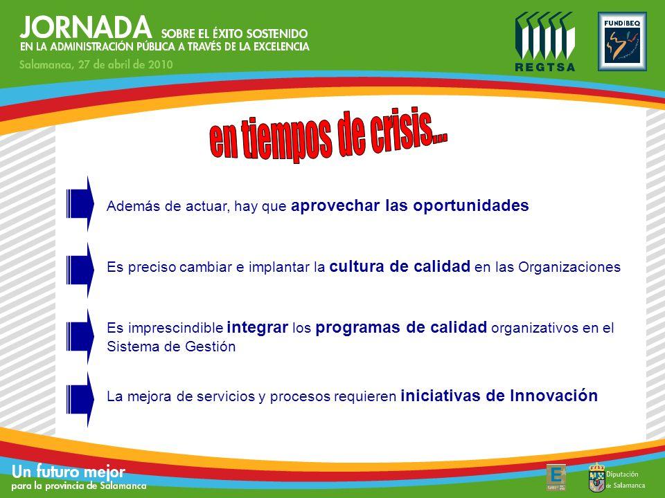Además de actuar, hay que aprovechar las oportunidades Es preciso cambiar e implantar la cultura de calidad en las Organizaciones La mejora de servici