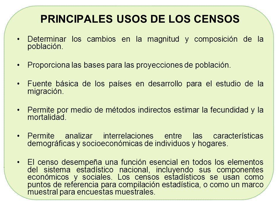 PRINCIPALES USOS DE LOS CENSOS Determinar los cambios en la magnitud y composición de la población. Proporciona las bases para las proyecciones de pob