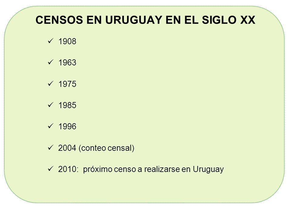 CENSOS EN URUGUAY EN EL SIGLO XX 1908 1963 1975 1985 1996 2004 (conteo censal) 2010: próximo censo a realizarse en Uruguay