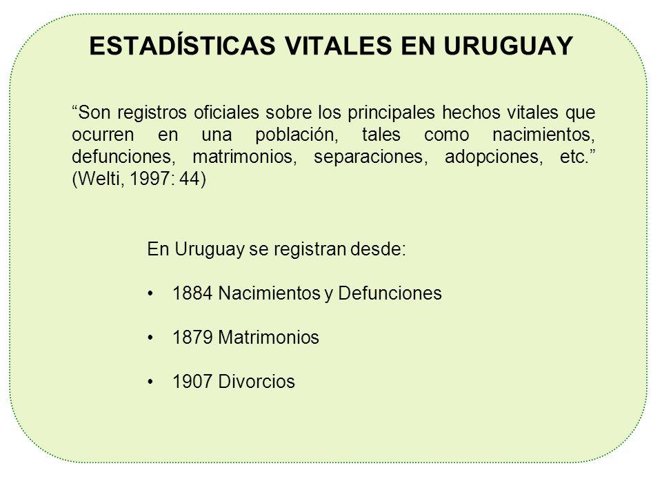 ESTADÍSTICAS VITALES EN URUGUAY En Uruguay se registran desde: 1884 Nacimientos y Defunciones 1879 Matrimonios 1907 Divorcios Son registros oficiales