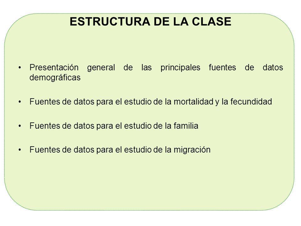 ESTRUCTURA DE LA CLASE Presentación general de las principales fuentes de datos demográficas Fuentes de datos para el estudio de la mortalidad y la fe