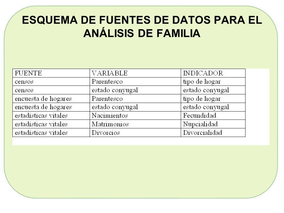 ESQUEMA DE FUENTES DE DATOS PARA EL ANÁLISIS DE FAMILIA