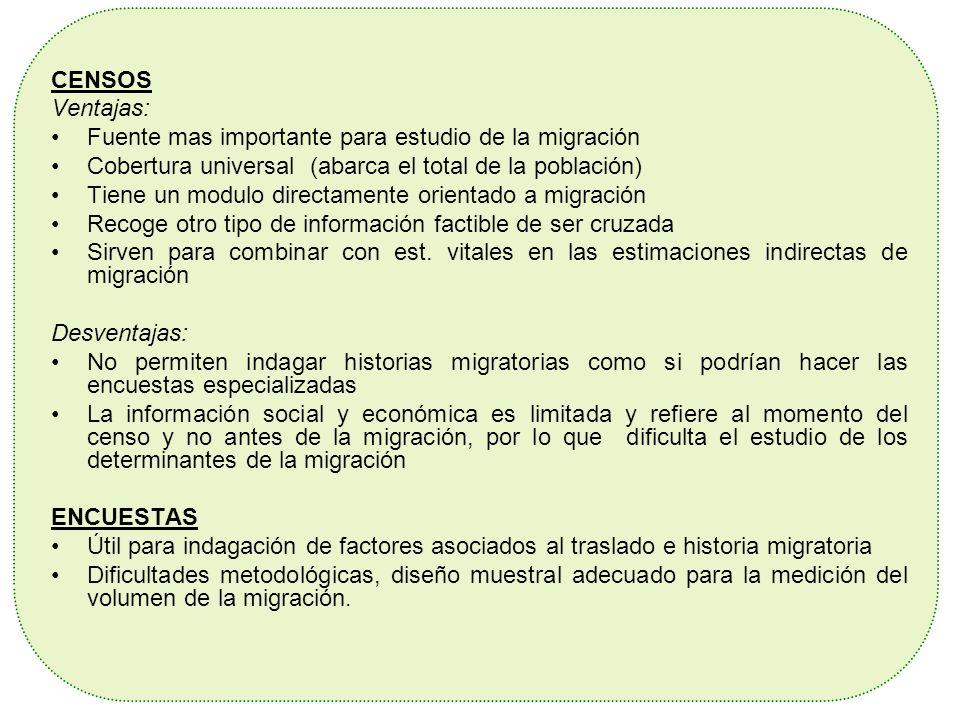 CENSOS Ventajas: Fuente mas importante para estudio de la migración Cobertura universal (abarca el total de la población) Tiene un modulo directamente