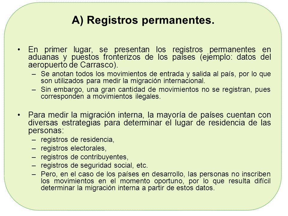 A) Registros permanentes. En primer lugar, se presentan los registros permanentes en aduanas y puestos fronterizos de los países (ejemplo: datos del a