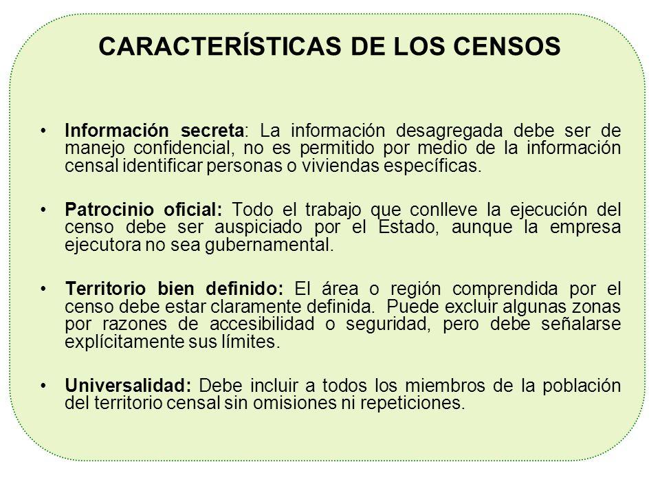 CARACTERÍSTICAS DE LOS CENSOS Información secreta: La información desagregada debe ser de manejo confidencial, no es permitido por medio de la informa