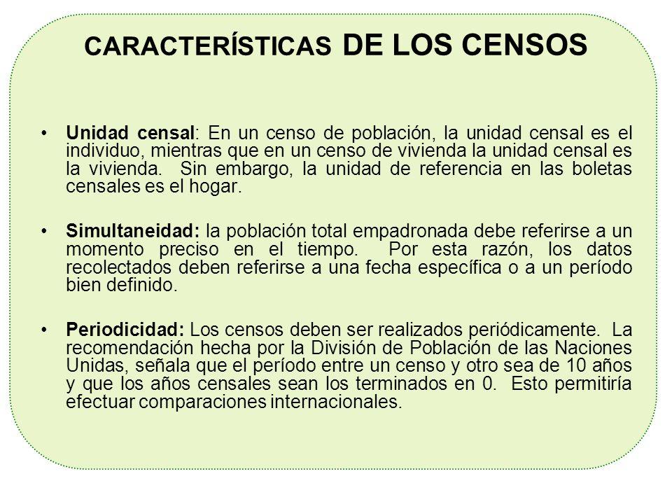 Unidad censal: En un censo de población, la unidad censal es el individuo, mientras que en un censo de vivienda la unidad censal es la vivienda. Sin e